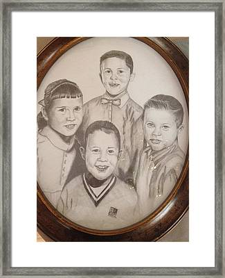 Framed Print featuring the drawing Siblings by Sharon Schultz