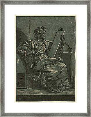 Sibyll Holding A Tablet Framed Print