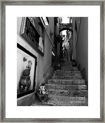 Sicilian Steps Bw Framed Print