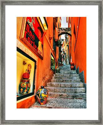 Sicilian Steps Framed Print by Mel Steinhauer