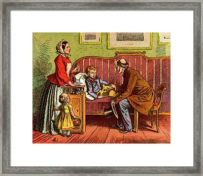 Sick Child Visited By The Doctor Framed Print
