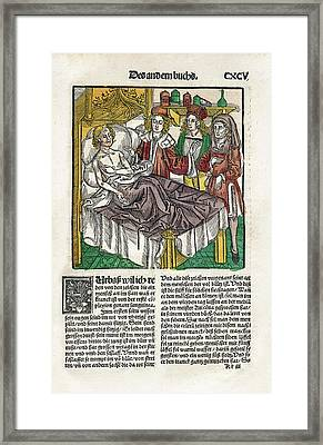 Sickbed Consultation Framed Print by National Library Of Medicine
