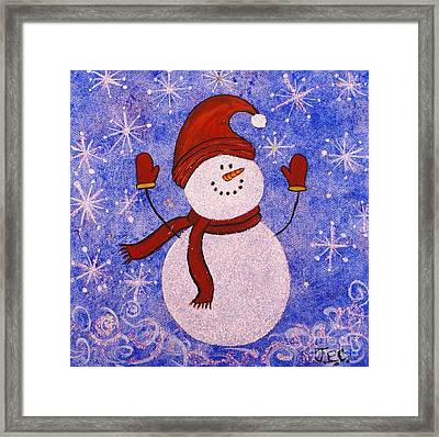 Framed Print featuring the painting Sid The Snowman by Jane Chesnut