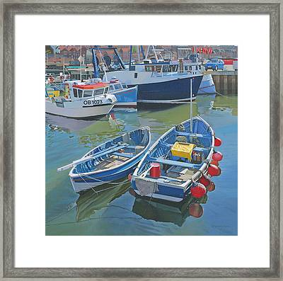 Side By Side In Whitby Harbour Framed Print by Graham Clark