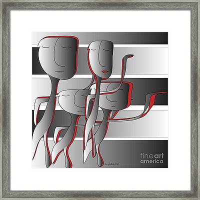 Framed Print featuring the digital art Side By Side by Iris Gelbart