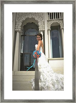 Side Of Bride At Baha'i Temple Framed Print by Mike Hope
