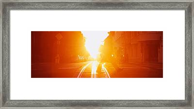 Side Profile Of A Person Crossing Framed Print by Panoramic Images