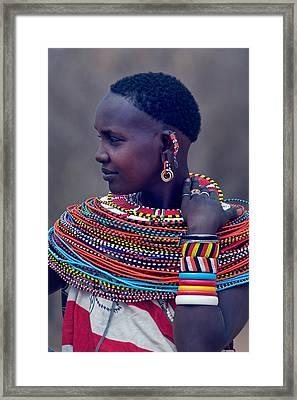 Side Profile Of A Samburu Tribal Woman Framed Print