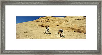 Side Profile Of Two Men Mountain Framed Print