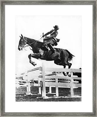 Sidesaddle Jumps At Horse Show Framed Print by Underwood Archives
