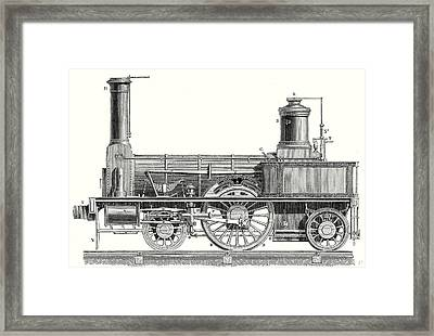 Sideview Of A Locomotive Showing The Mechanism Of The Engine Framed Print by English School
