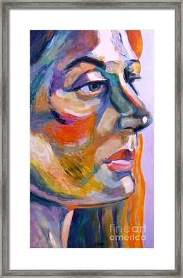 Sideview Of A Woman Framed Print by Stan Esson