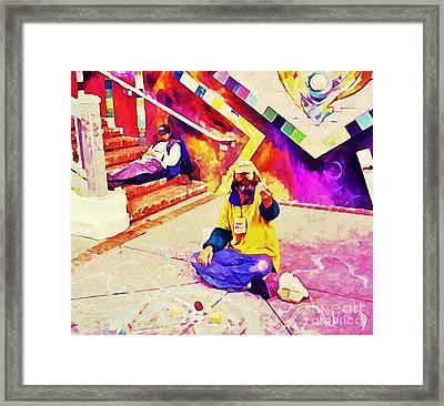 Sidewalk Artist In Haight-ashbury Framed Print