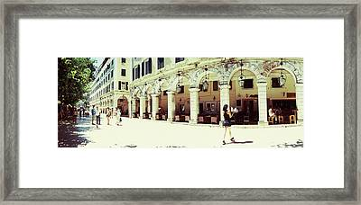 Sidewalk Cafe In A City, Corfu, Ionian Framed Print by Panoramic Images