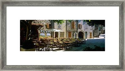 Sidewalk Cafe In A Village, Claviers Framed Print by Panoramic Images