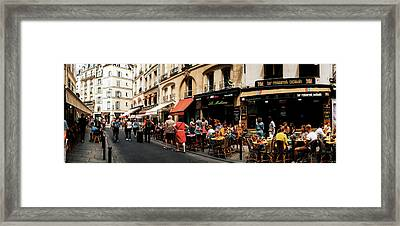 Sidewalk Cafes Along A Street Framed Print by Panoramic Images
