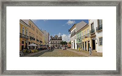 Sidewalk Cafes On A Street Framed Print by Panoramic Images