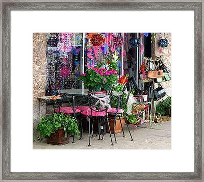 Sidewalk Display Marble Falls Texas Framed Print by Linda Phelps