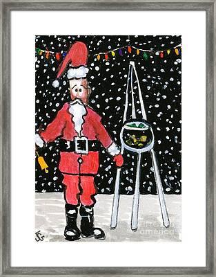 Sidewalk Santa Framed Print by Joyce Gebauer
