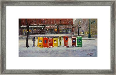 Sidewalk Sentinels In Early Snow Framed Print