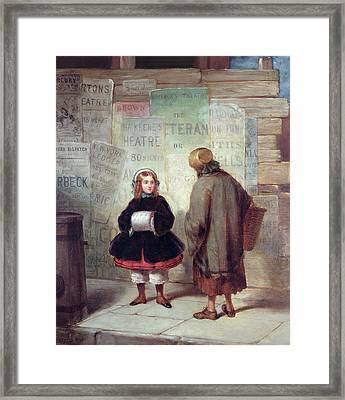 Sidewalks Of New York Or Rich Girl Poor Girl Framed Print by James Harvey Cafferty