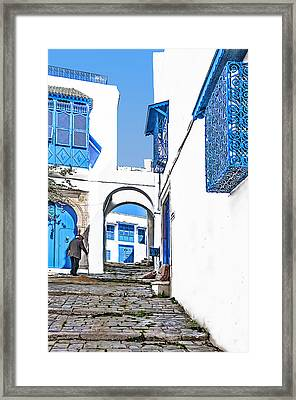 Old Man On Stairs Framed Print