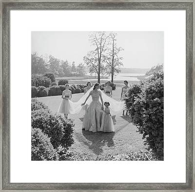 Sidney Bacon In Garden With Her Bridesmaids Framed Print