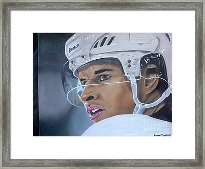 Sidney Crosby Closeup Framed Print by Graham McLeod