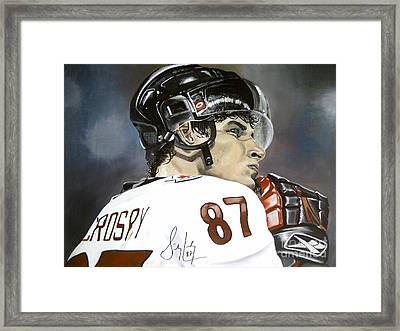 Sidney Crosby Framed Print by Graham McLeod