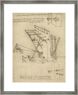 Siege Machine In Defense Of Fortification With Details Of Machine From Atlantic Codex Framed Print by Leonardo Da Vinci