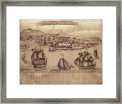 Siege Of Curacao Framed Print by Library Of Congress, Geography And Map Division