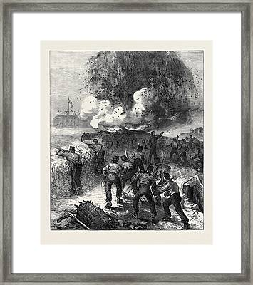 Siege Operations At Chatham Explosion Of A Mine 1871 Framed Print