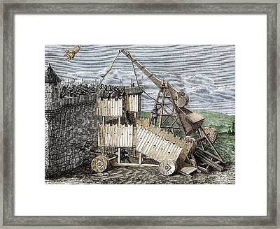 Siege With Trebuchet And Greek Fire Framed Print by Sheila Terry