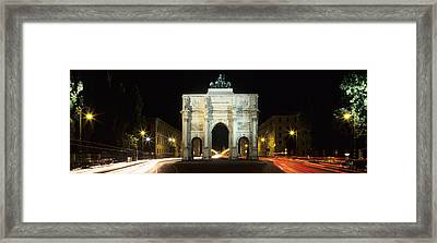 Siegestor At Ludwigstrasse, Schwabing Framed Print by Panoramic Images