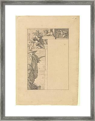 Siegfried Battles With The Gatekeeper As Alberich Framed Print