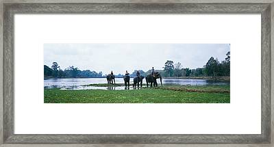 Siem Reap River & Elephants Angkor Vat Framed Print by Panoramic Images