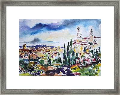 Siena Italy Tuscan Landscape Watercolor Framed Print by Ginette Callaway
