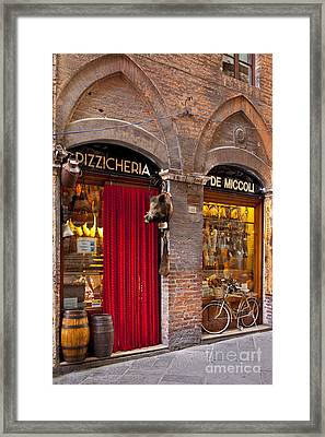 Siena Meat And Cheese Shop Framed Print by Brian Jannsen