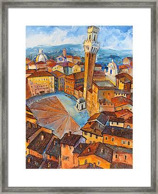 Siena-piazza Dil Campo Framed Print by Mikhail Zarovny