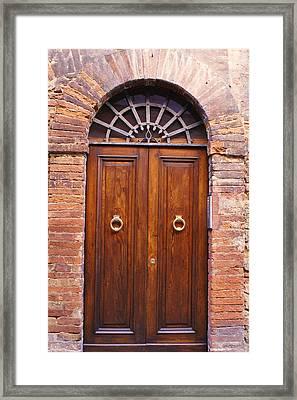 Sienna Door Framed Print by Barbara Stellwagen