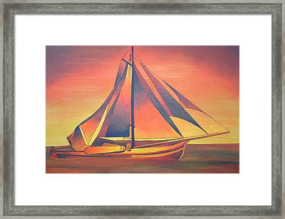 Framed Print featuring the painting Sienna Sails At Sunset by Tracey Harrington-Simpson