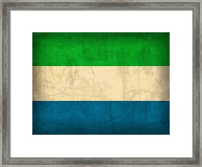 Sierra Leone Flag Vintage Distressed Finish Framed Print by Design Turnpike
