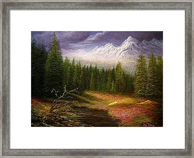 Framed Print featuring the painting Sierra Spring Storm by Loxi Sibley
