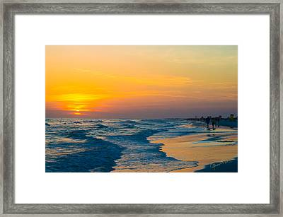Siesta Key Sunset Walk Framed Print