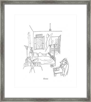 Siesta Framed Print by Saul Steinberg