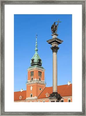 Sigismund Column And Royal Castle In Warsaw Framed Print by Artur Bogacki