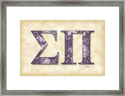 Sigma Pi - Parchment Framed Print by Stephen Younts
