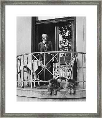 Sigmund Freud With His Chows Framed Print by Underwood Archives