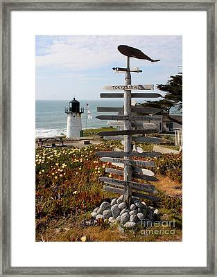 Sign At Point Montara Framed Print