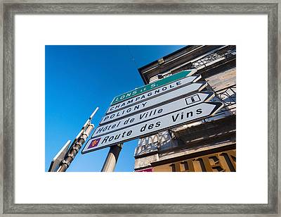 Sign For The Route Des Vins, Arbois Framed Print by Panoramic Images